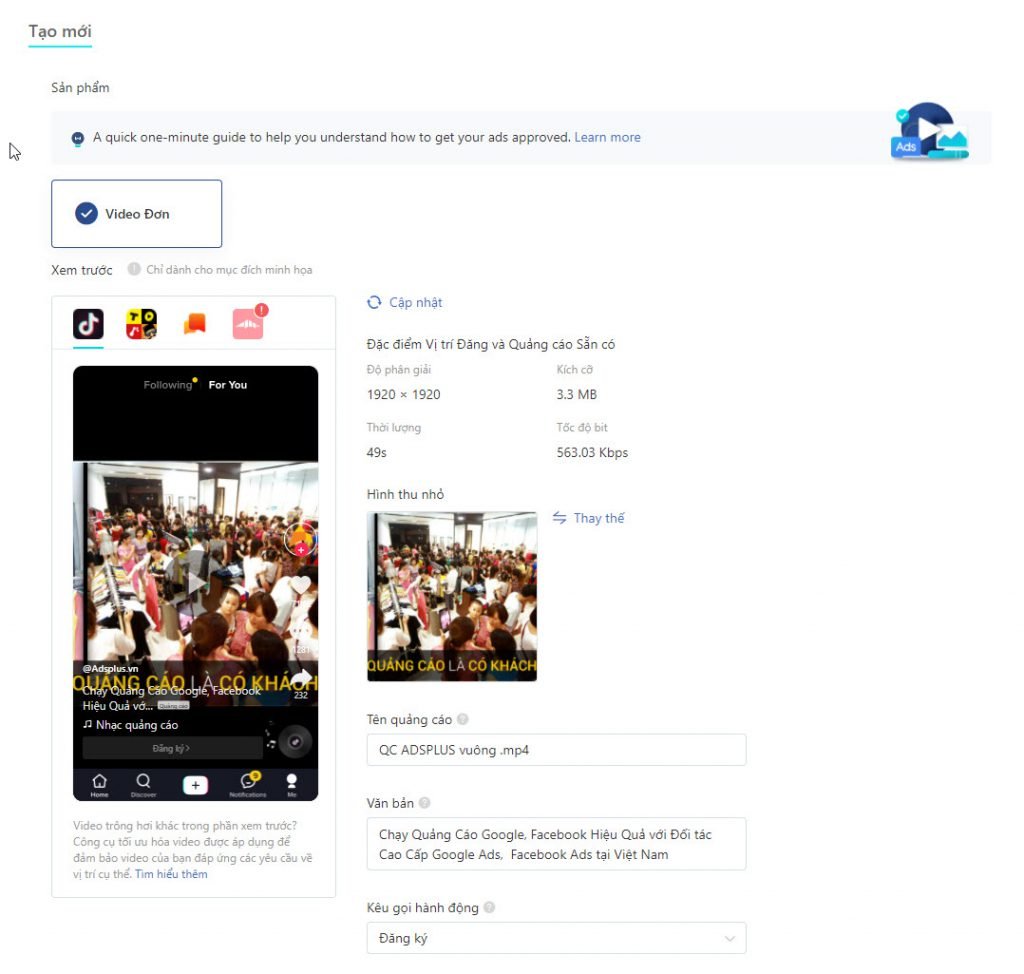 xem trước quảng cáo video Tiktok Ads đầu tiên