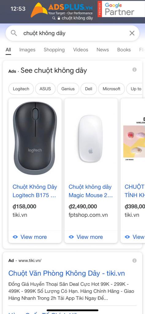 Google Shopping trên điện thoại