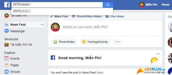 tìm facebook qua số điện thoại 01